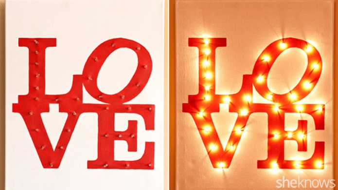DIY illuminated LOVE canvas