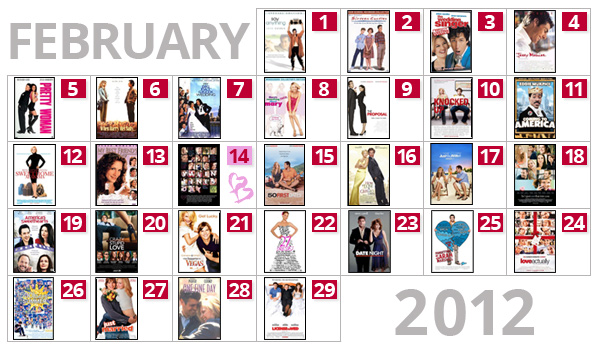 Romantic Movies Valentine's Day Calendar