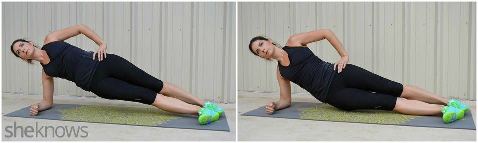 Side plank hip dip exercise
