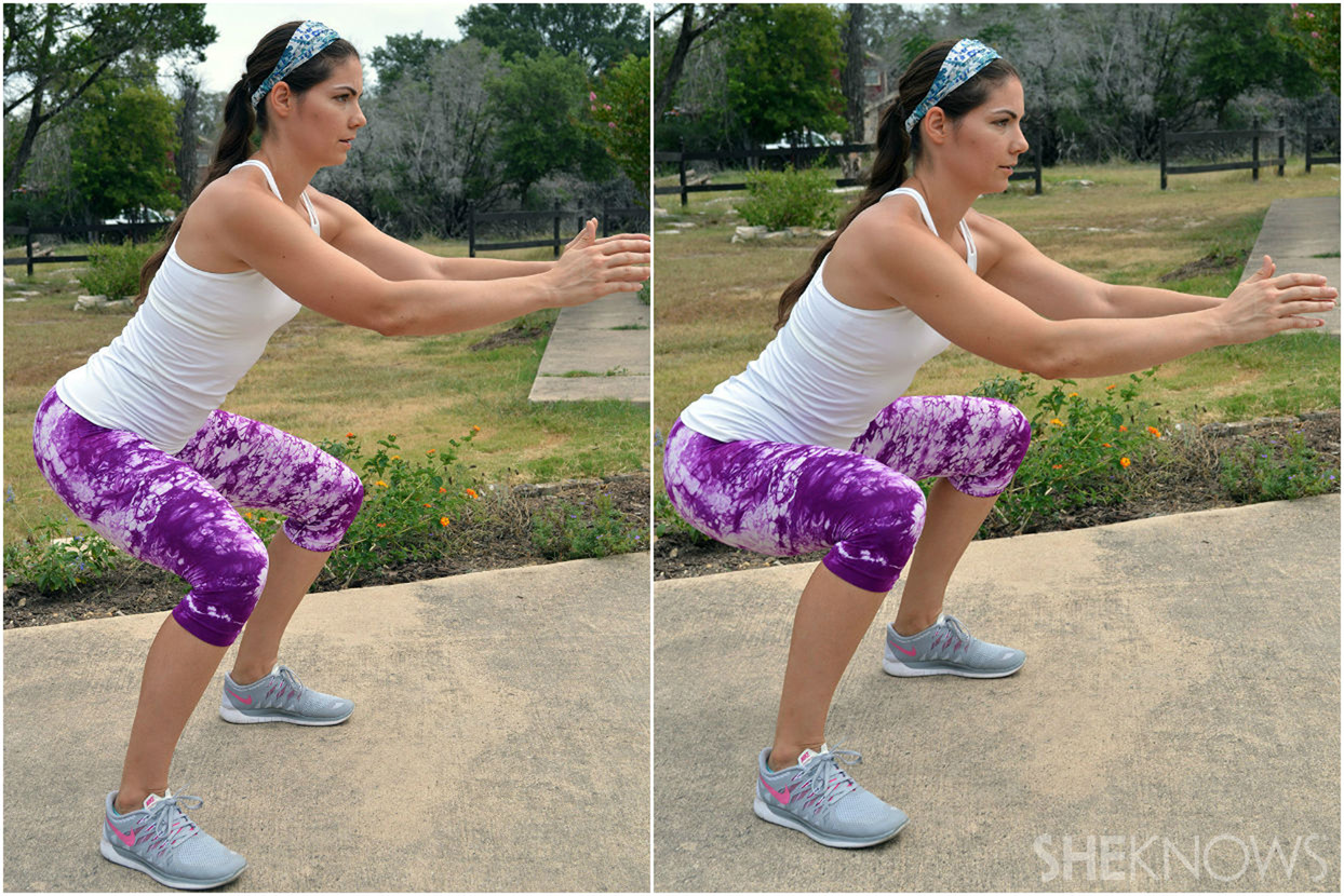 Low squat hold: 8 total repetitions