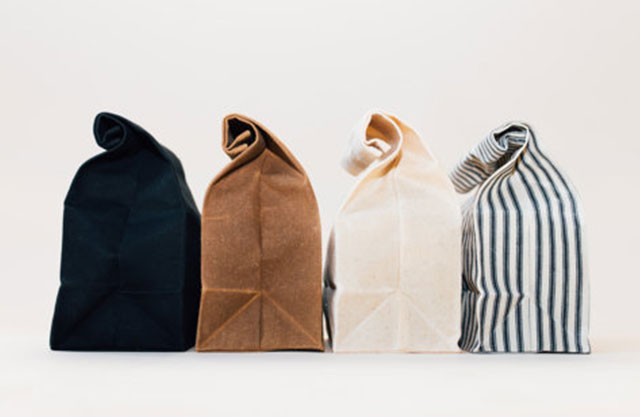 Row of four lunch bags