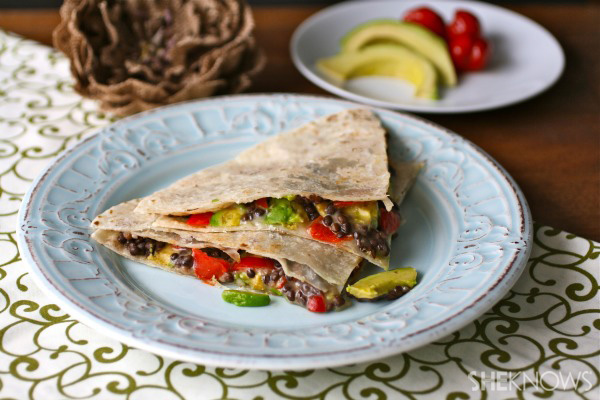 Meatless Monday: Black lentil, sweet pepper, Havarti, and avocado quesadillas