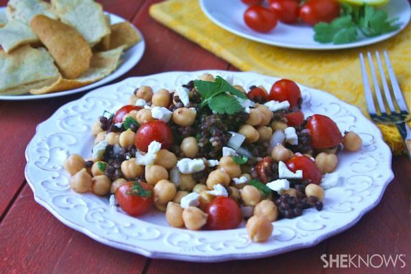 Chickpea and black lentil salad with feta