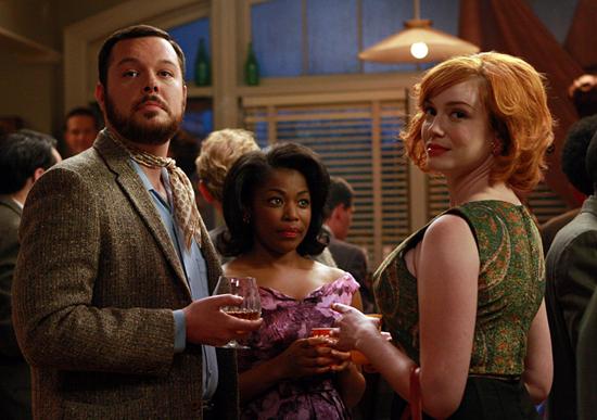 Christina-Hendricks (right) shoots a scene for Mad Men