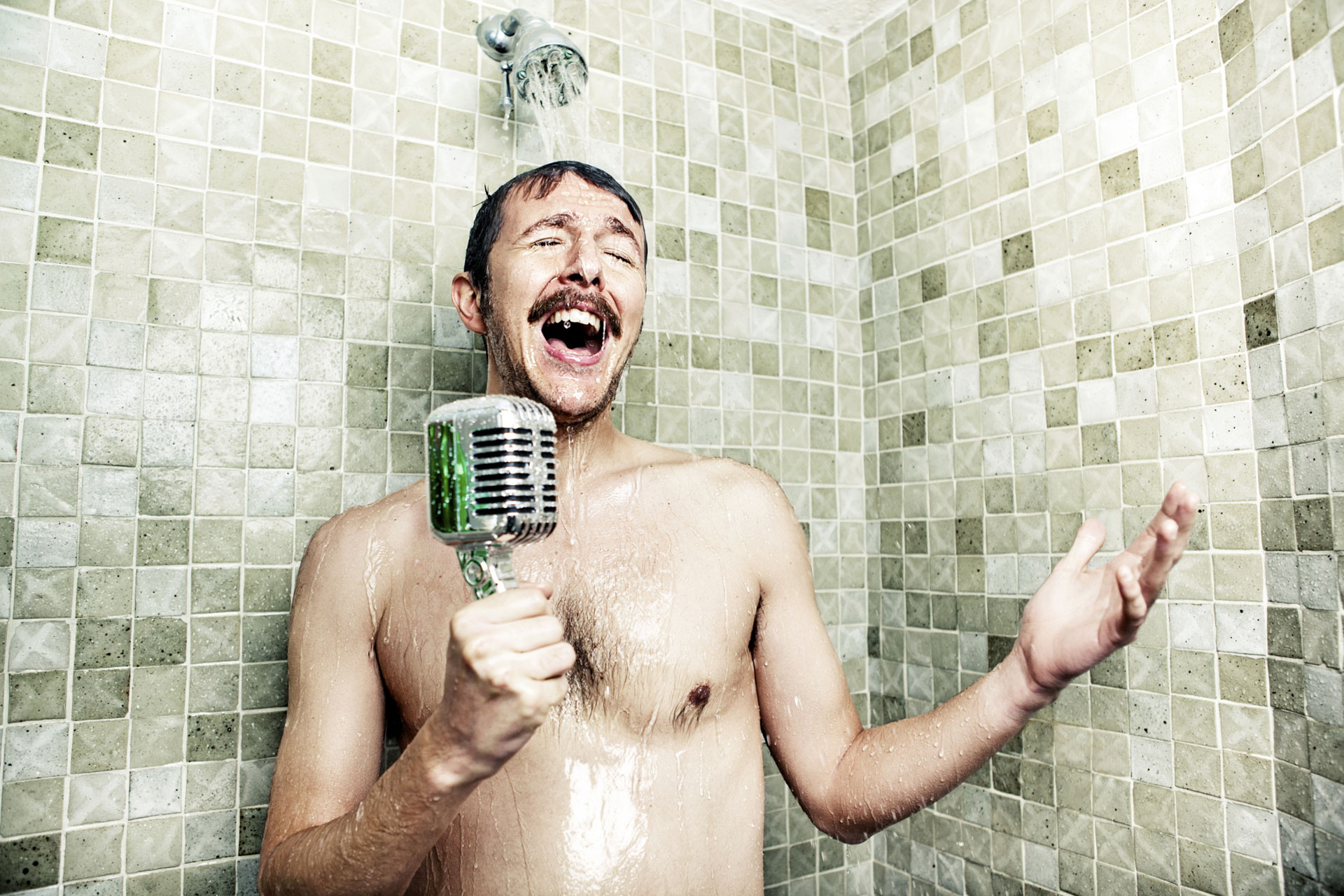 Man singing in shower
