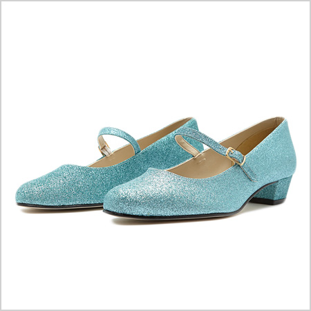 Mary Jane Pump in Light Blue Glitter