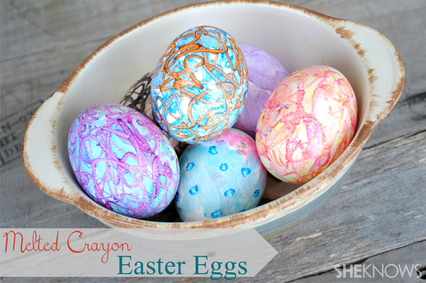 Melted crayon colored eggs