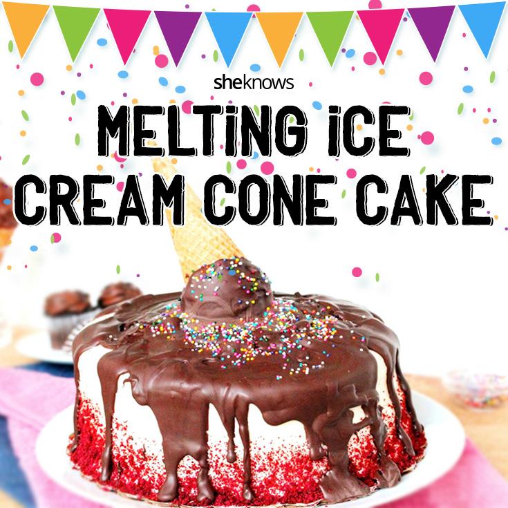 melting ice cream cone cake