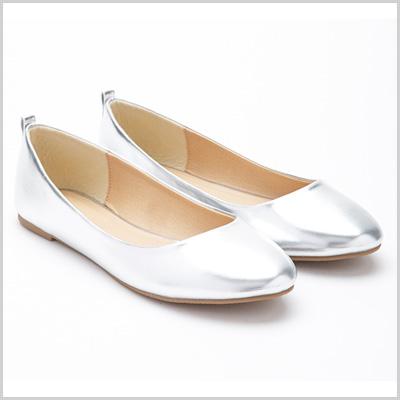 Metallic Ballet Flats in Silver