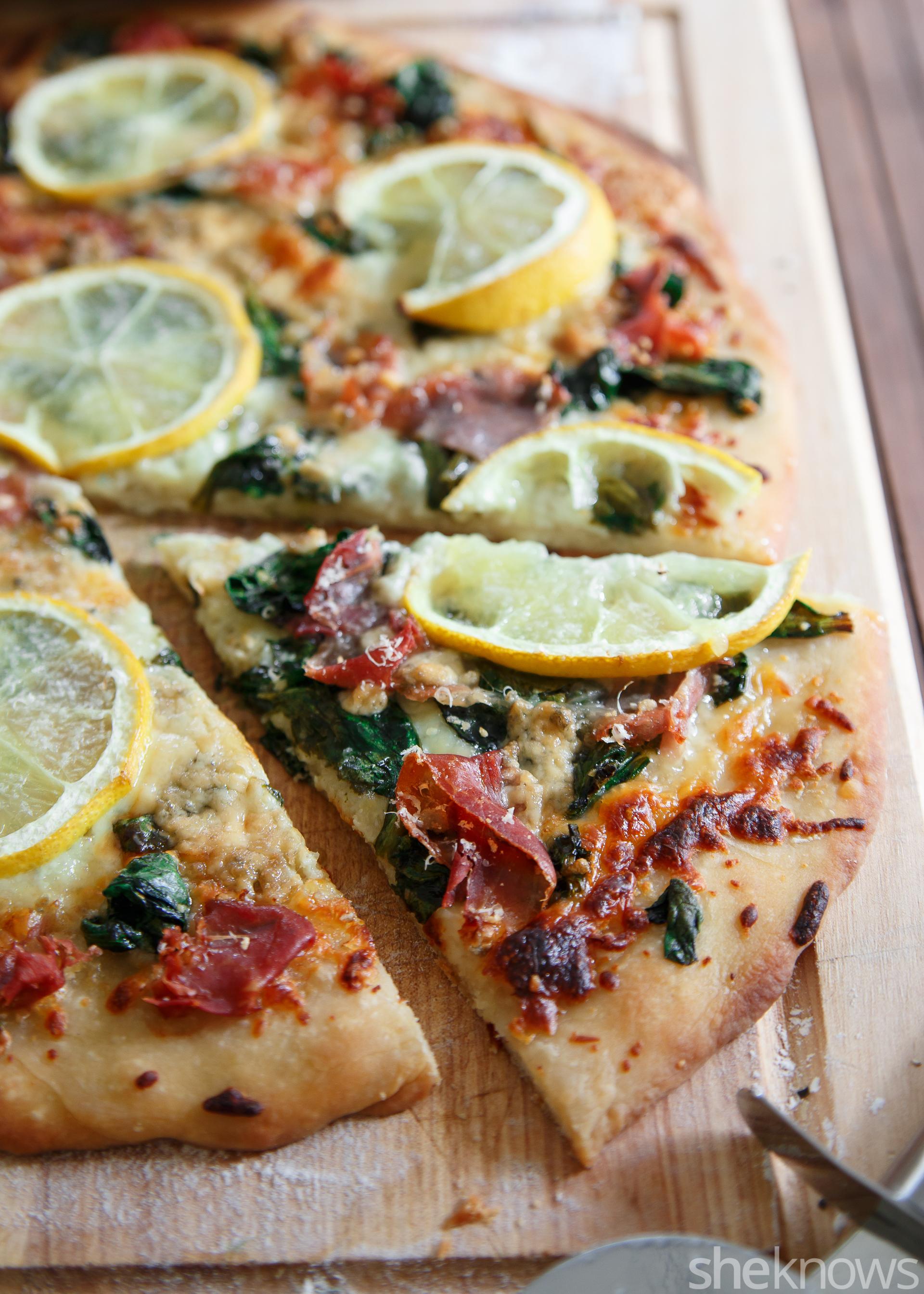 Meyer lemon prosciutto pizza