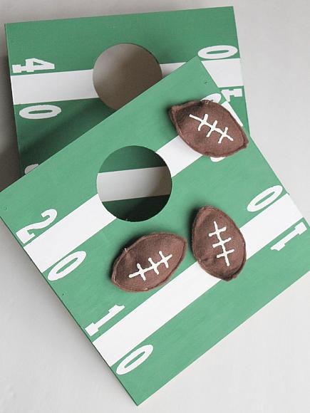 Mini football cornhole game