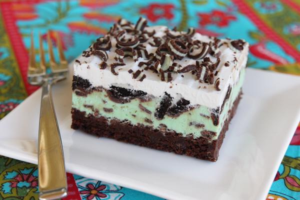 mint brownie squares