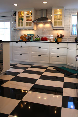Mollys kitchen checker board tile floor