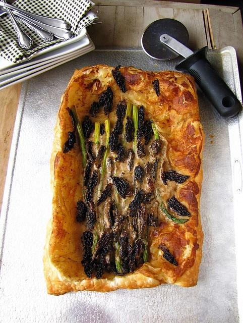 Morel mushroom and asparagus tart