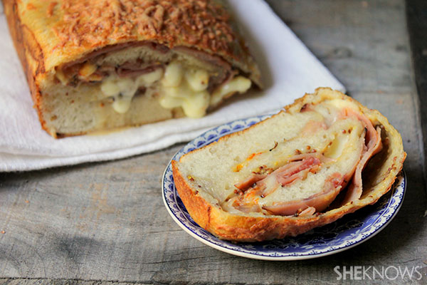 Munster- and ham-stuffed bread