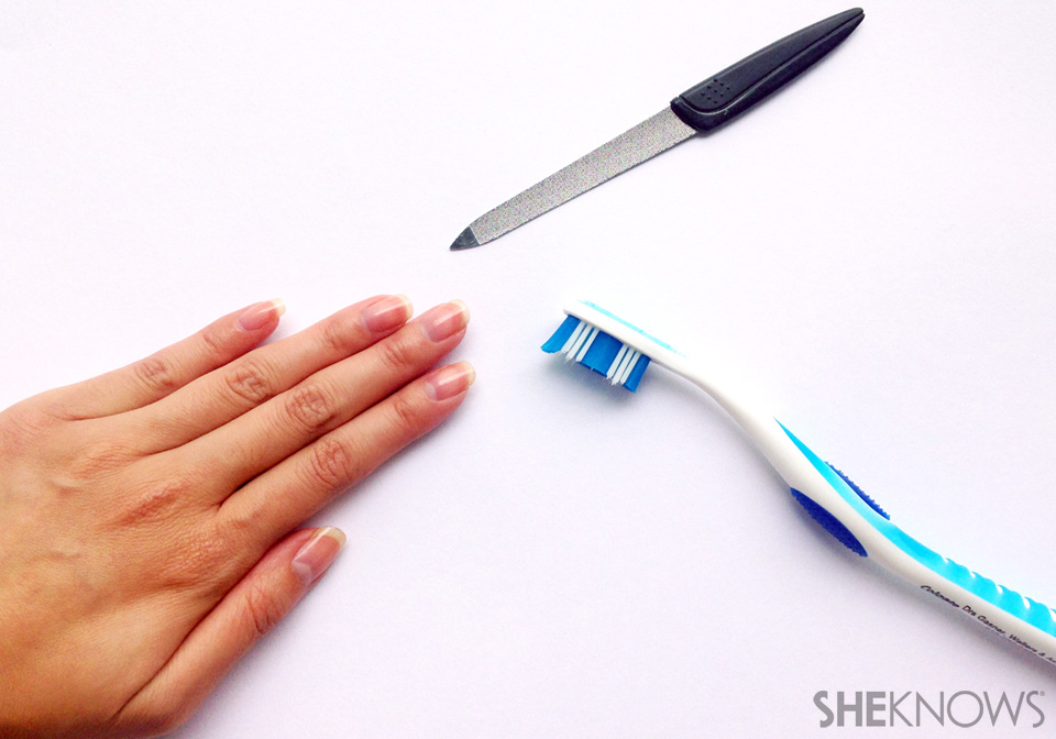 Flip manicure for natural nails: Step 1: Clean and prep nails