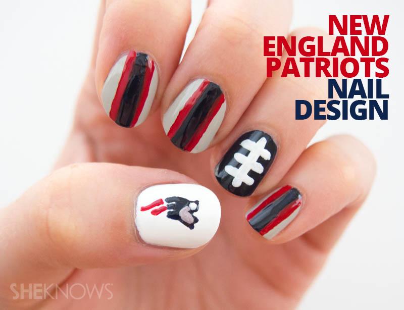 New England Patriots nail design