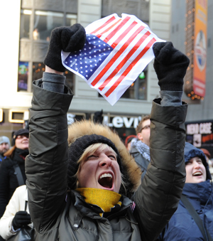 New Yorkers in Times Square celebrate Obama's Inauguration