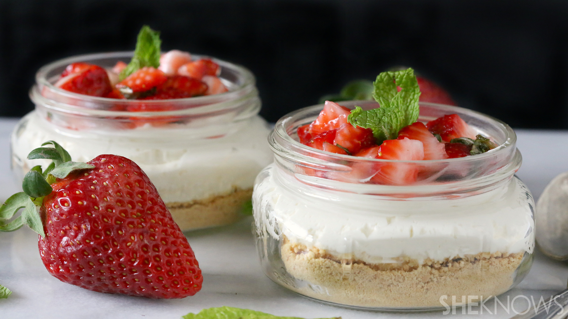 No-bake mint strawberry cheesecake