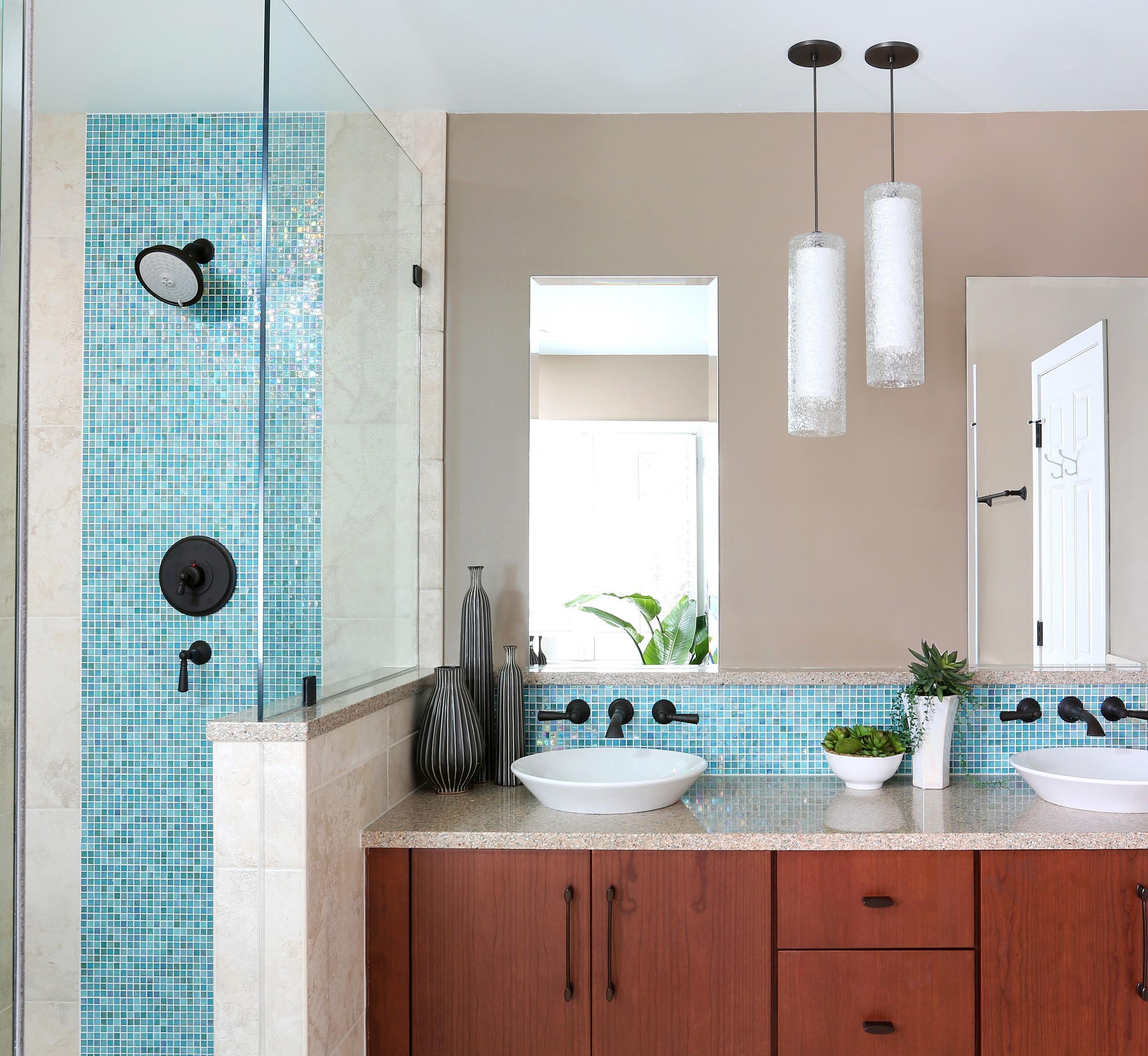 Bathroom with blue tiled shower