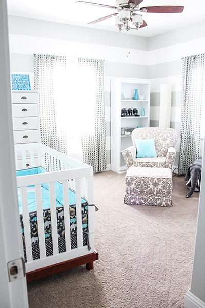 Gray And Teal Boy Nursery