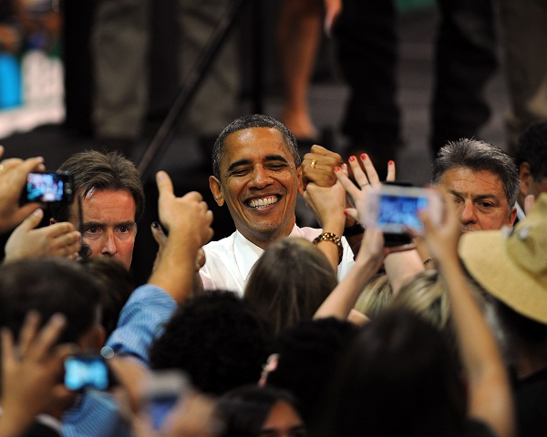 Obama with supporters