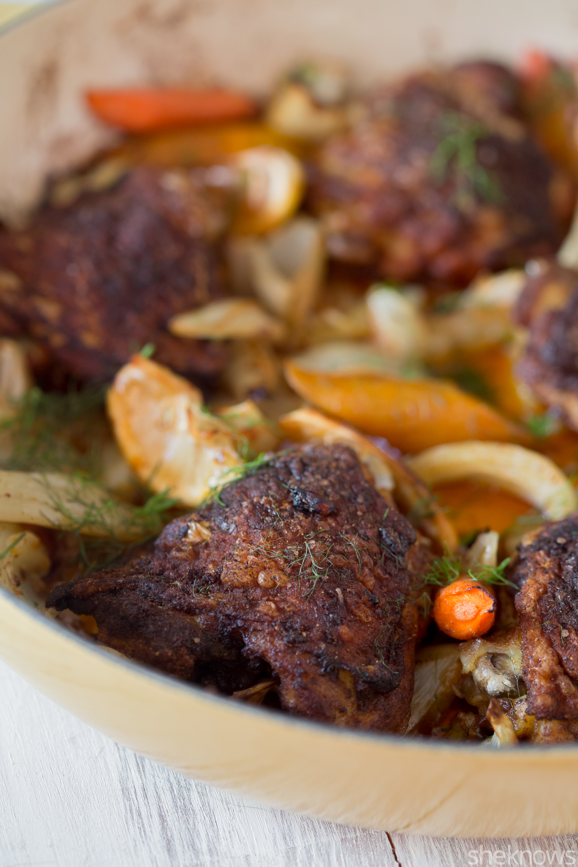crispy moroccan chicken with veggies