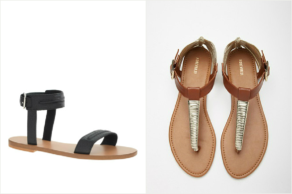 a pair of flat sandals