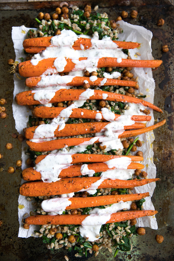 Best pregnancy foods: oven roasted carrots and tahini