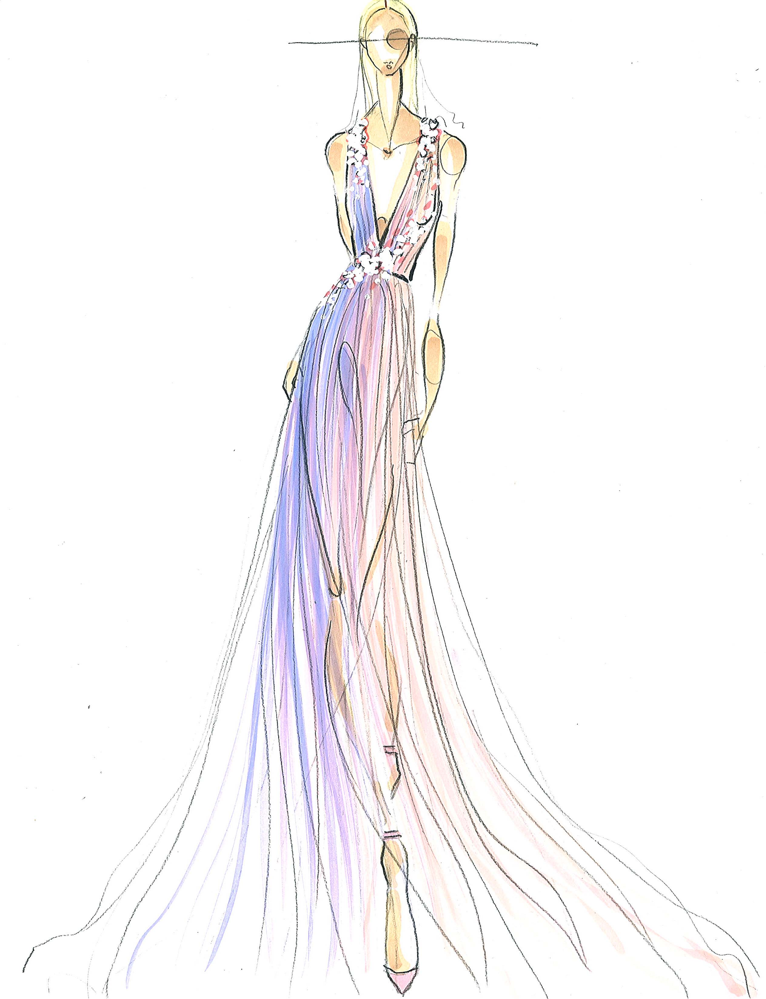 Pamella Roland spring 2015 collection sketch 1