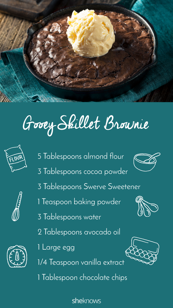 Pin it! Low-carb gooey skillet brownie for two