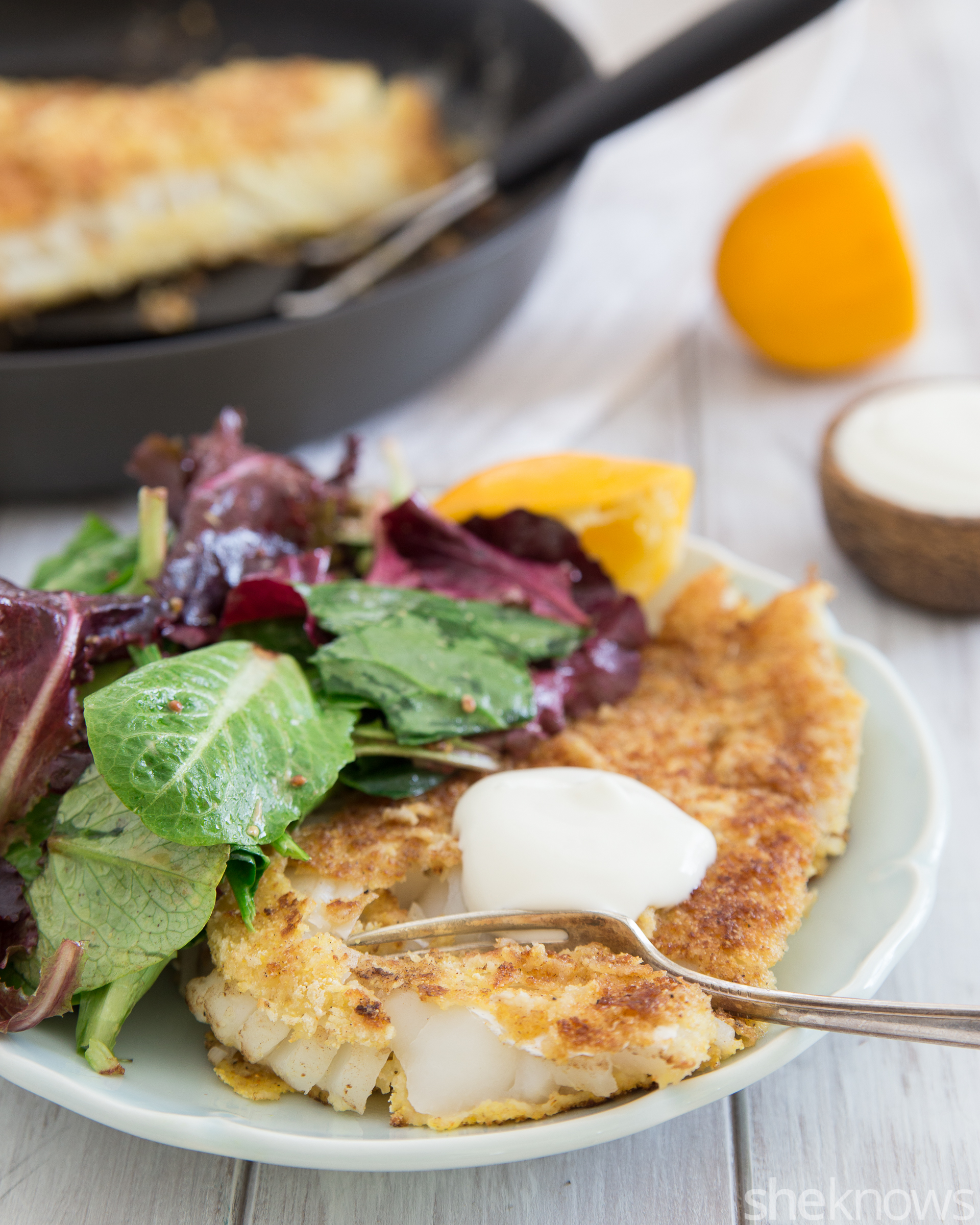 Pan-fried halibut with lemon-yogurt sauce recipe