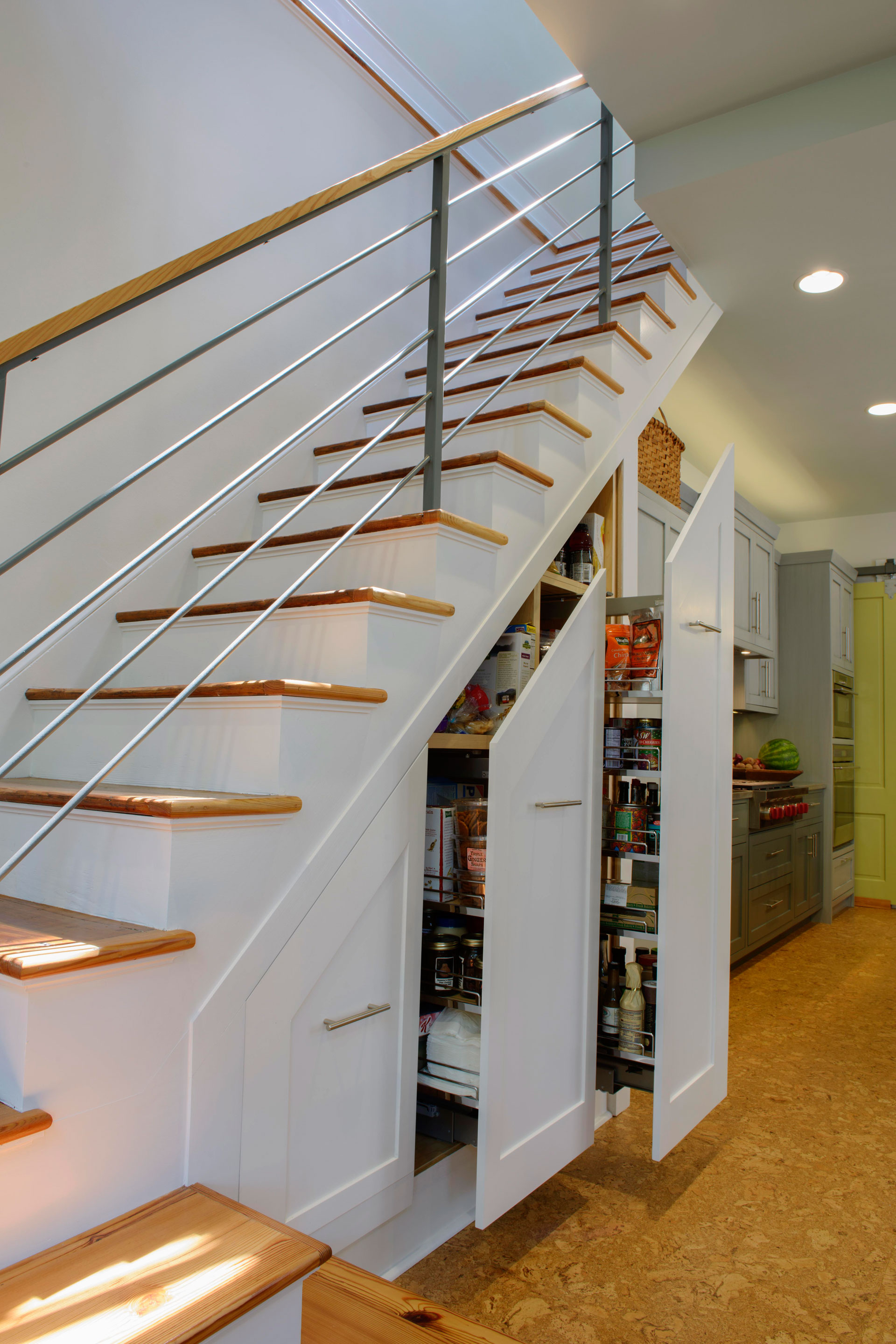 Under the stairs slide out pantry