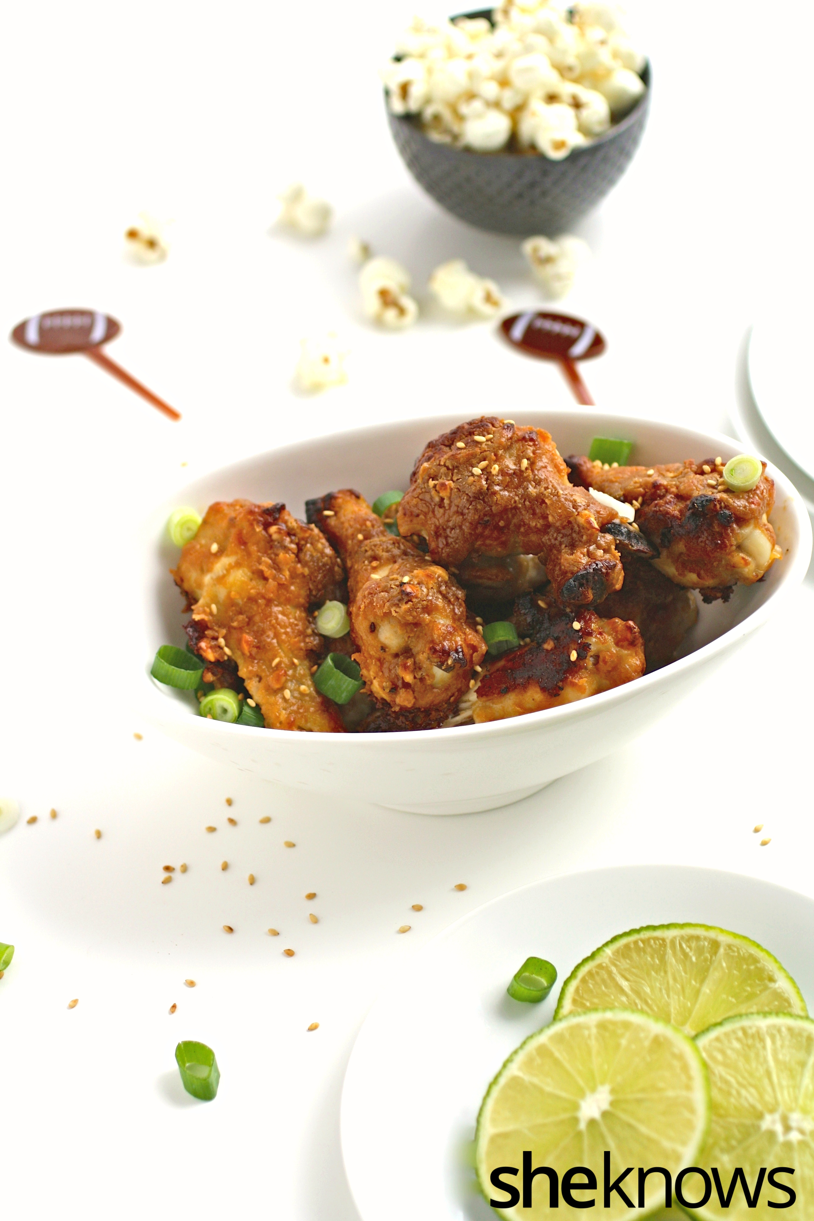 Gather round for a fun and flavorful appetizer, perfect to serve on game day: peanutty Thai-inspired, baked chicken wings
