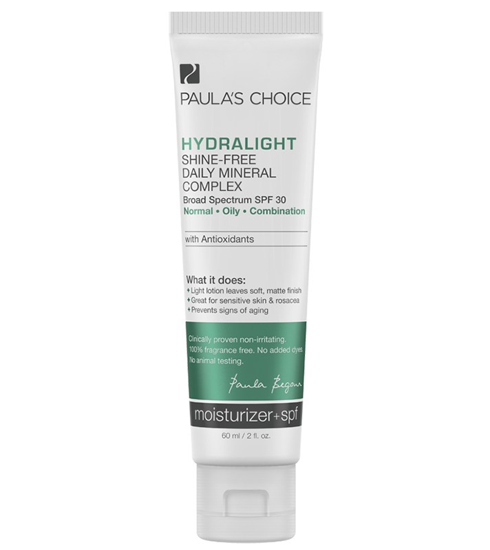 Best Non-Greasy, Non-Shiny Sunscreens for Oily Skin: Paula's Choice Hydralight Shine-Free Daily Mineral Complex SPF 30 | Summer Skincare