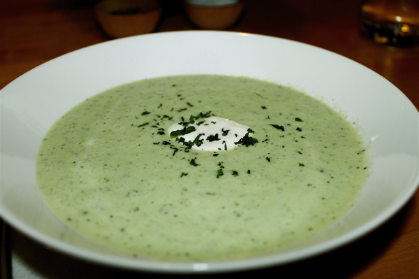 Spring pea and mint soup