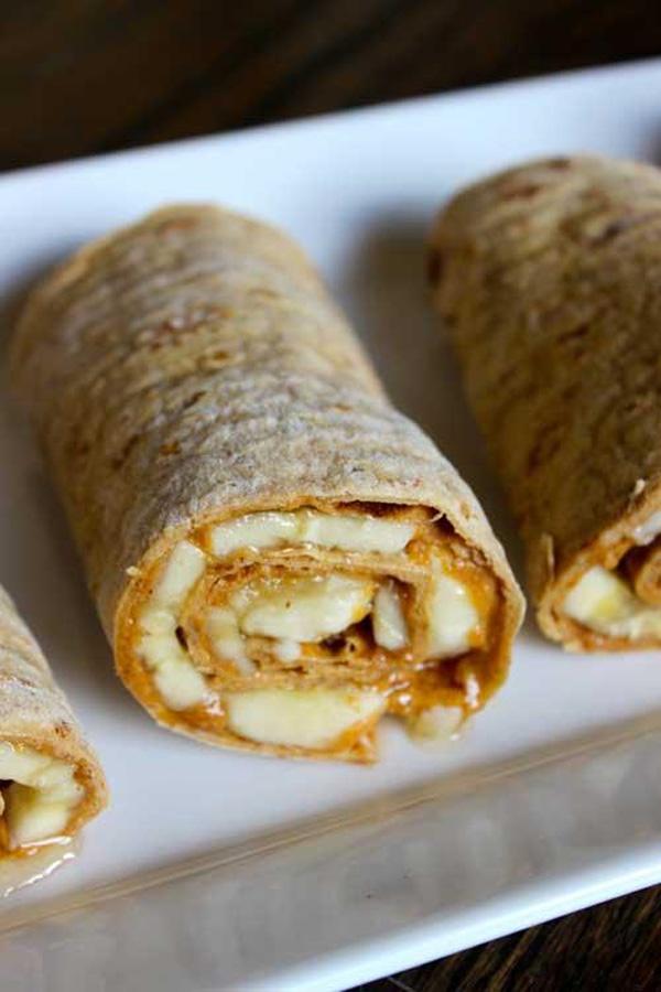 Peanut butter banana honey roll-ups