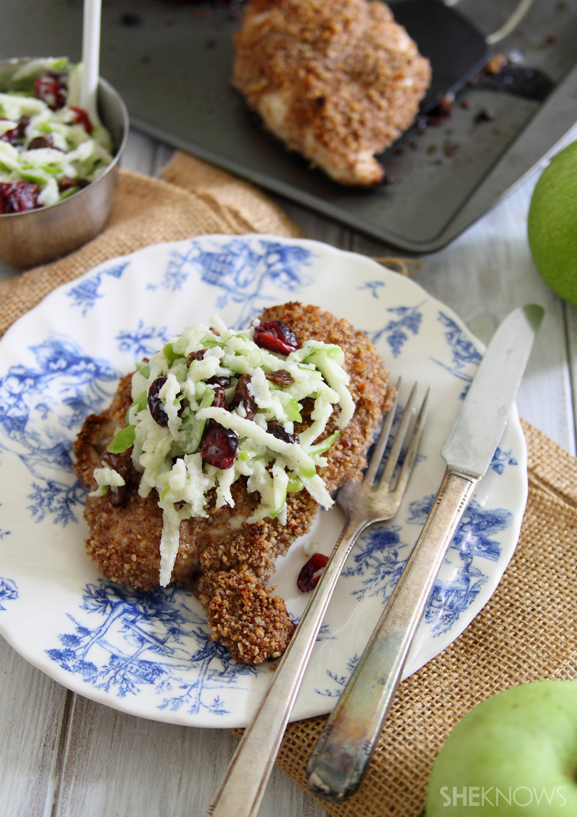 Pecan crusted chicken with green apple slaw
