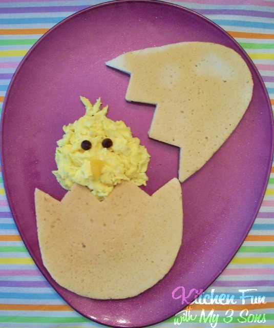 Hatching chick pancake by Kitchen Fun with My Three Sons