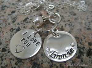 Personalized sterling silver necklace from Lalabel Creations