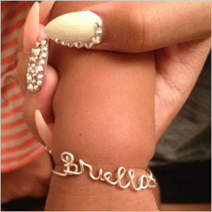 Personalized sculpted wire bracelet