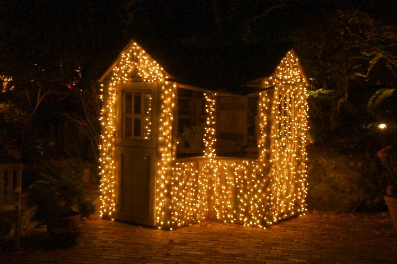 White Christmas lights on a shed