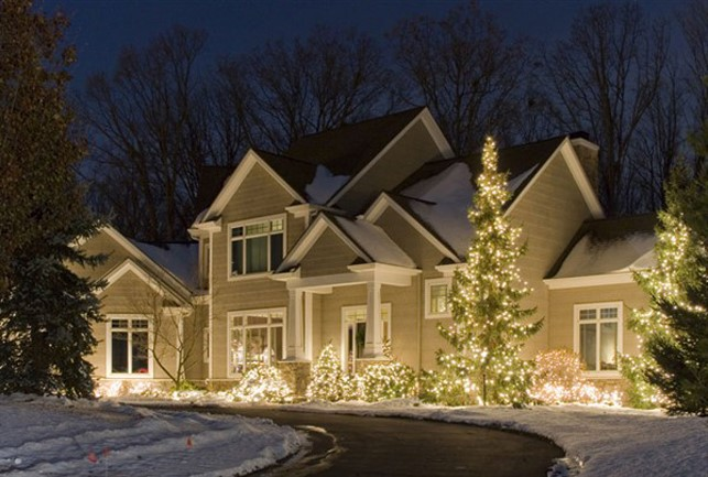 White lights on trees infront of house