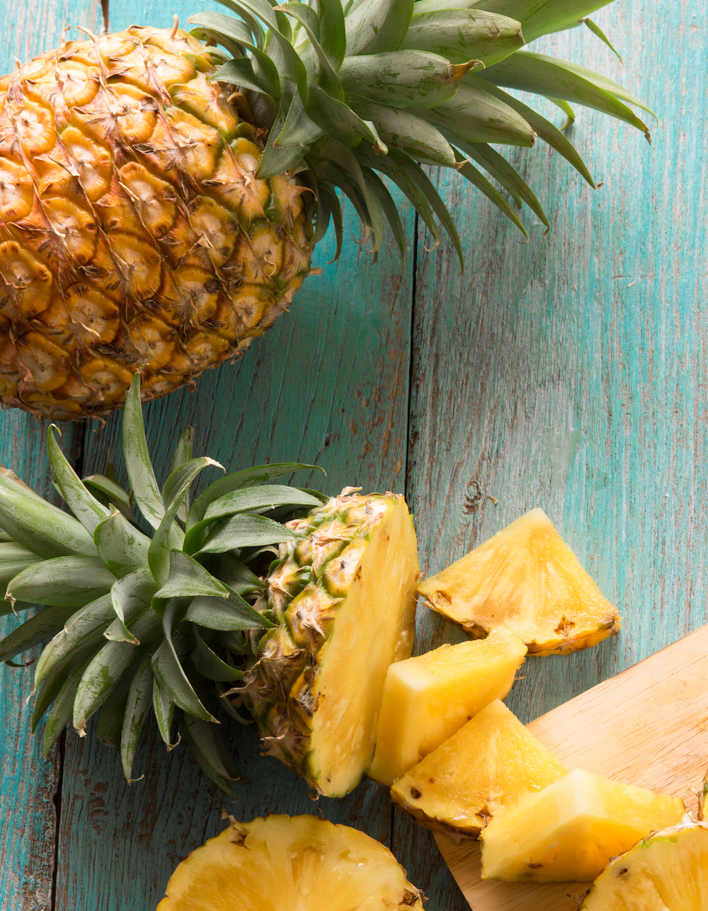 Pineapple With Slices On Table