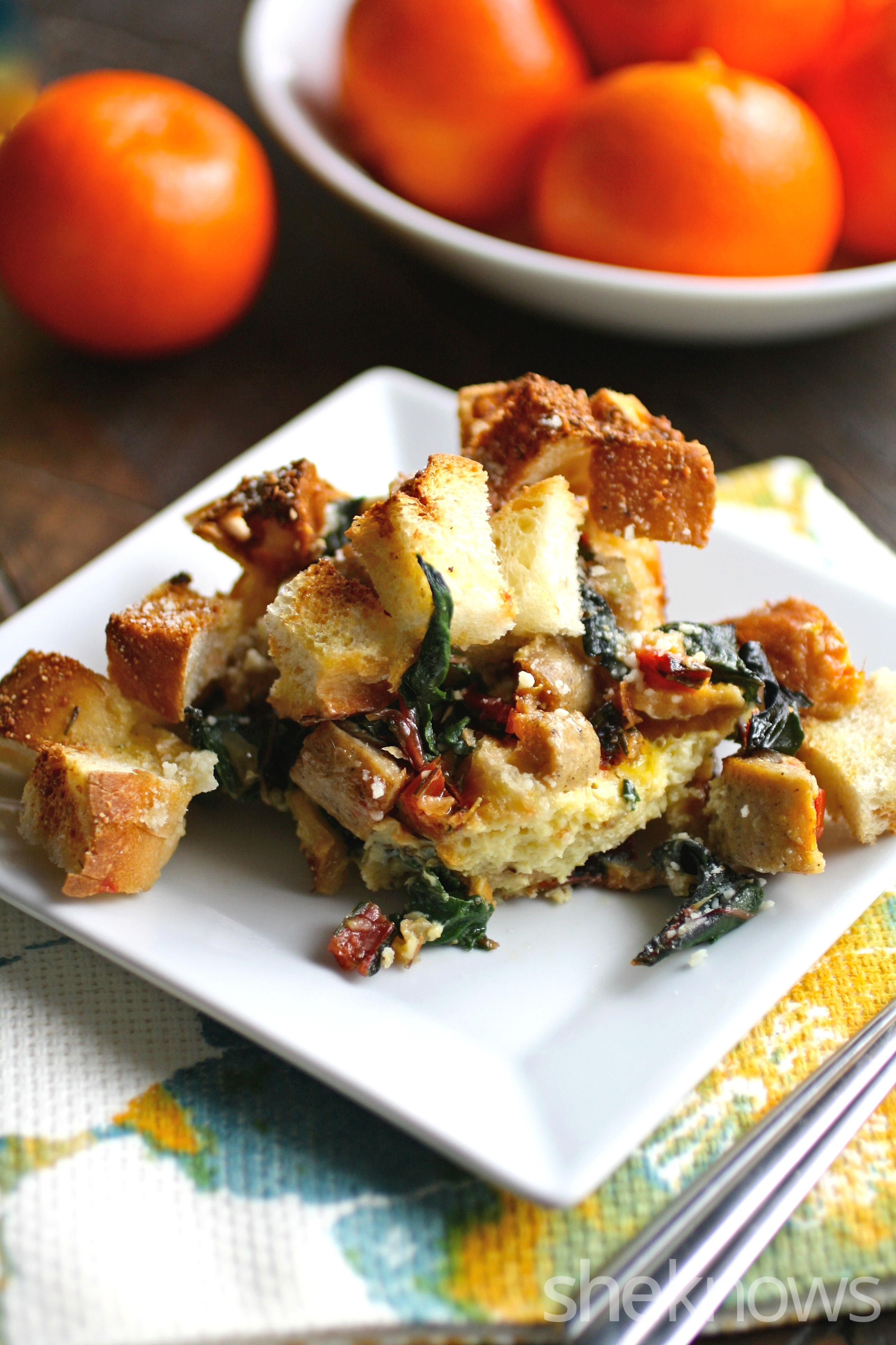 You'll love how amazing this overnight sausage and Swiss chard strata is for breakfast or brunch!