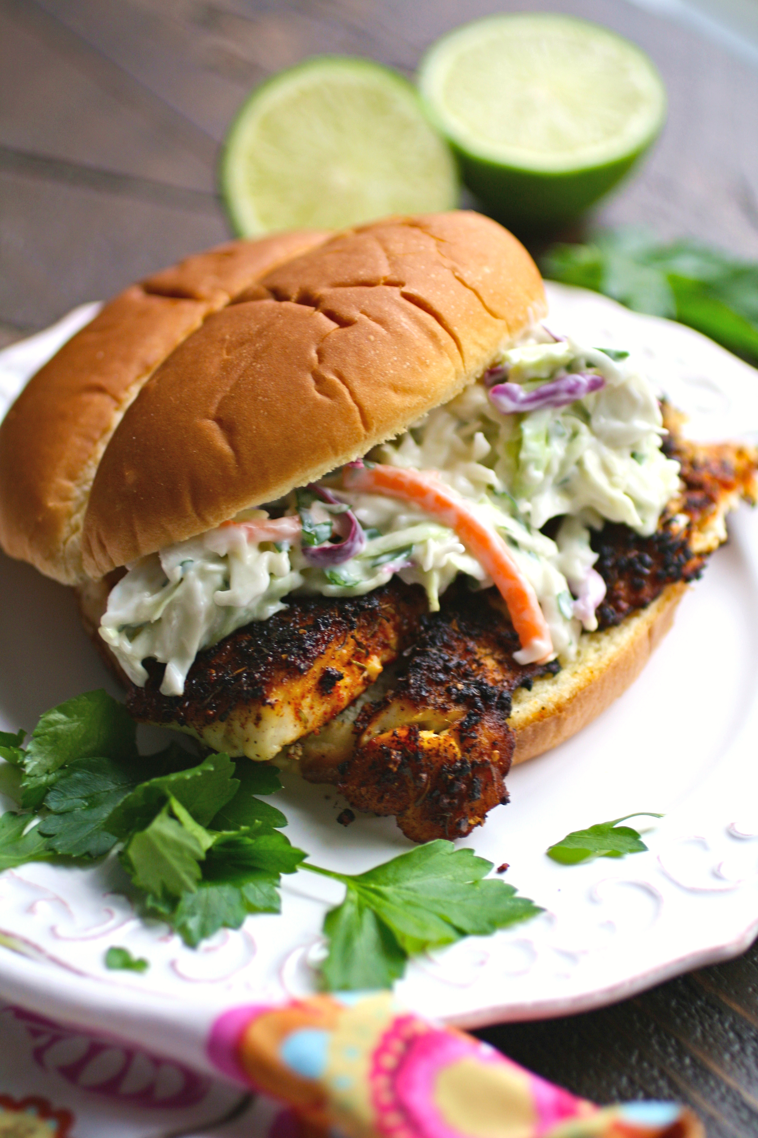 Wrap your hands around this sandwich! Blackened fish sandwiches with cilantro slaw is tasty!