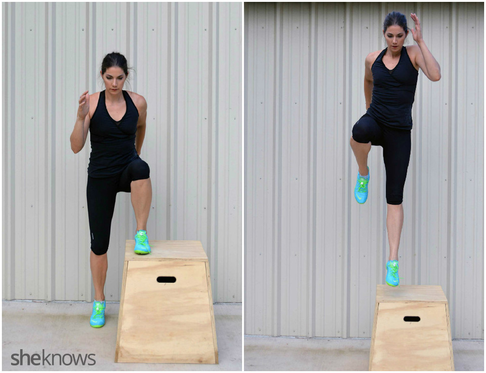 Plyometric box jump skips