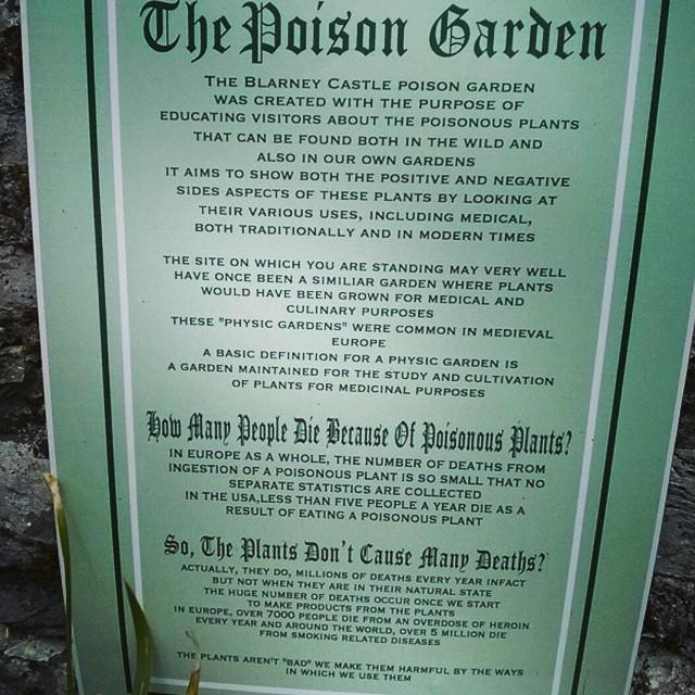 Poison Garden sign