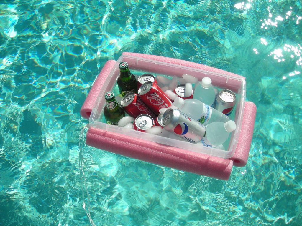 Pool noodle hack for floating cooler