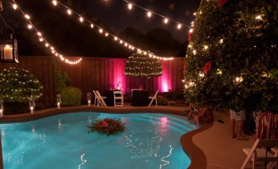 Lights strewn across pool